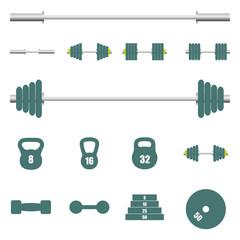 Icons sports equipment, vector illustration.