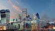 London Skylines at sunset, time lapse, UK