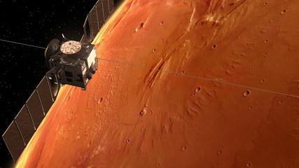 "Spaceship ""Mars Express"" Orbiting Mars"