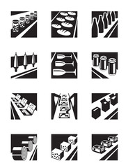 Different assembly lines - vector illustration