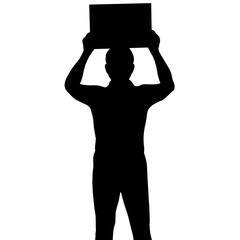 Silhouette man holding banner, vector format