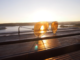 Sunset light with glasses lens in tonsberg, norway