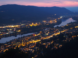 Drammen city night view in Norway