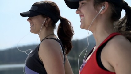 Close Up On Attractive Women Running