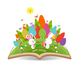 easter egg and bunny spring with grass garden in the book