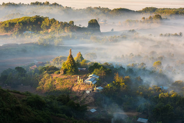 View from the Pagoda  in Mrauk-U, Myanmar