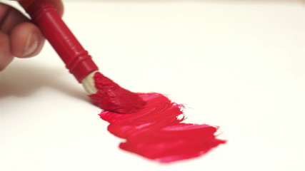 Painting Red Art Brush Fading Line