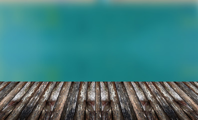 Blur background and wooden floor