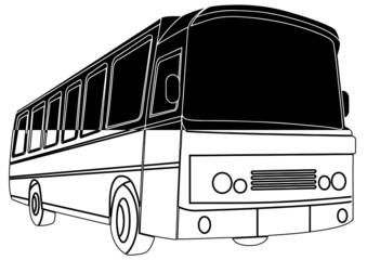 Autocar noir et blanc