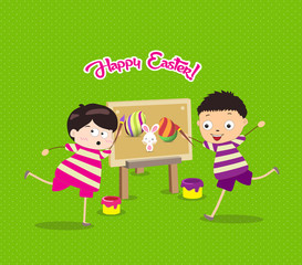 happy easter with kids eggs and bunny painting canvas