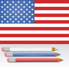 American flag with three colors pencils vector