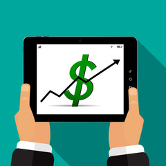 The tablet is in the hands of a rising dollar vector