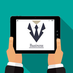 The tablet  is in the hands of business icon vector