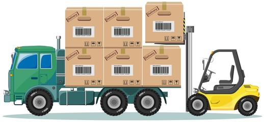 Loader ships the goods in warehouse, vector illustration