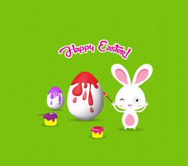 happy easter with bunny eggs painting colorful