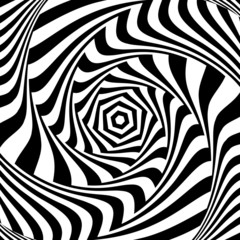 Illusion of vortex movement. Abstract op art design.