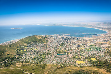 Aerial view of Cape Town skyline from lookout viewpoint