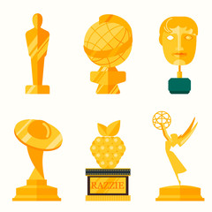 Flat design of set vector award success and victory icons.