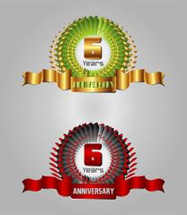 Celebration Anniversary golden laurel wreath, 6 years