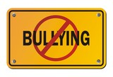 stop bullying - yellow signs poster