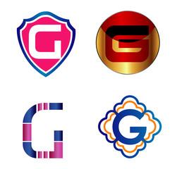 Letter G alphabet logo element vector icon set
