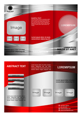 Vector trifold brochure template design with red color