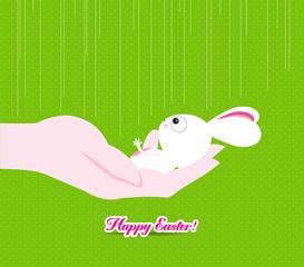 happy easter hand holding a tiny bunny