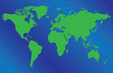 World map illustration on blue background