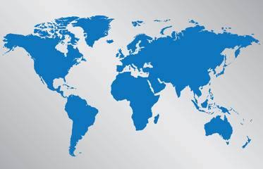 World map illustration on gray background