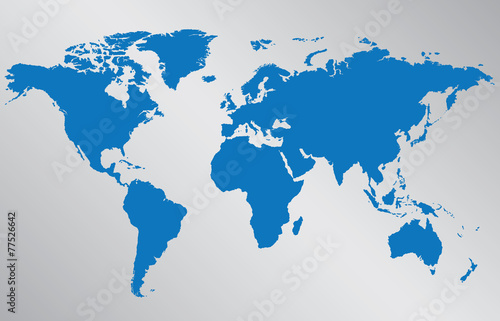 Canvas Wereldkaarten World map illustration on gray background