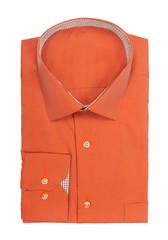 male orange shirt on a white background