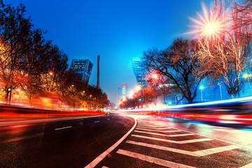 Night lights in the economic center of madrid