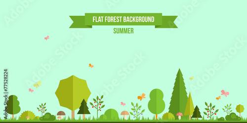 Summer forest flat background