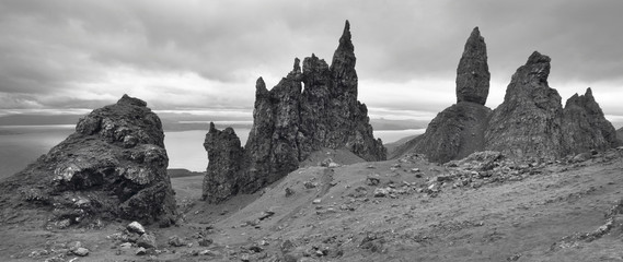 Scottish basaltic landscape in Skye isle. Old man of Storr