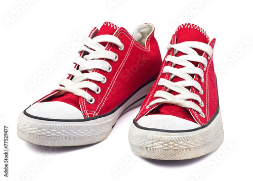 vintage red shoes on white background - 77529477