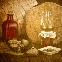 Cuisine mediterranean old  texture background