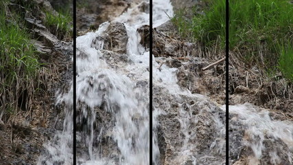 Shot of the small cascade on the stream in the forest