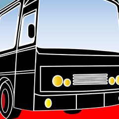 Gros plan pop art sur un autocar