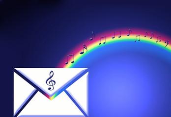 Música, sobre, arco iris, notas musicales, fondo