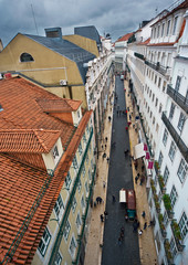 View of the streets and rooftops of  Lisbon.