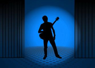 Músico, guitarrista, escenario, foco, azul, ilustración