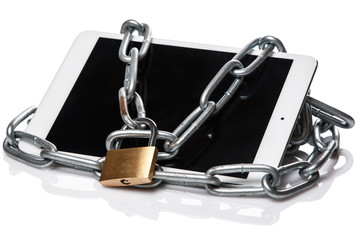 Tablet pc and padlock with chain