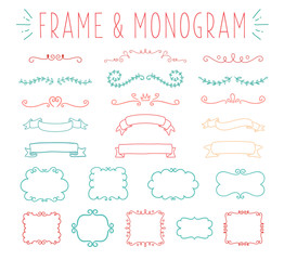 Set of simple and graceful monogram design templates,  lineart