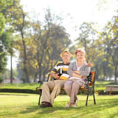Relaxed mature couple enjoying a sunny day in park