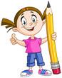 Girl holding big pencil