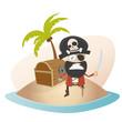pirat schatzinsel schatz kiste palme