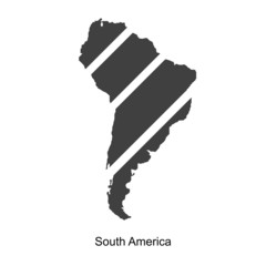 Black map of south america for your design