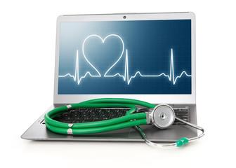 laptop with heart rhythm ekg on screen