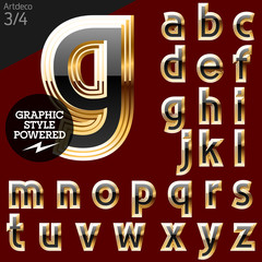 Vector font of beveled golden letters. Art-deco 3