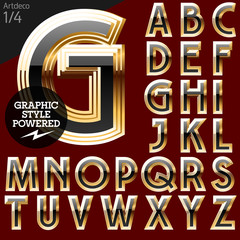 Vector font of beveled golden letters. Art-deco 1